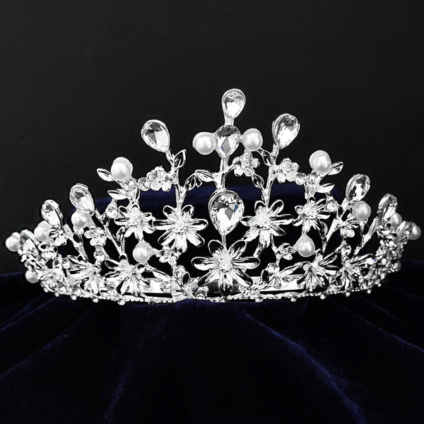 Kriaa Silver Plated White Austrian Stone Crown