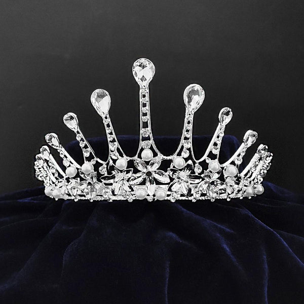 Kriaa Silver Plated White Austrian Stone Crown -1506603