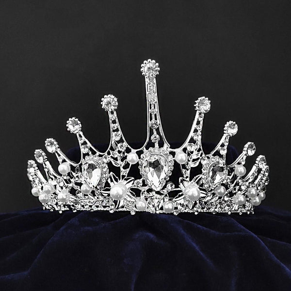 Kriaa Silver Plated White Austrian Stone Crown -1506604
