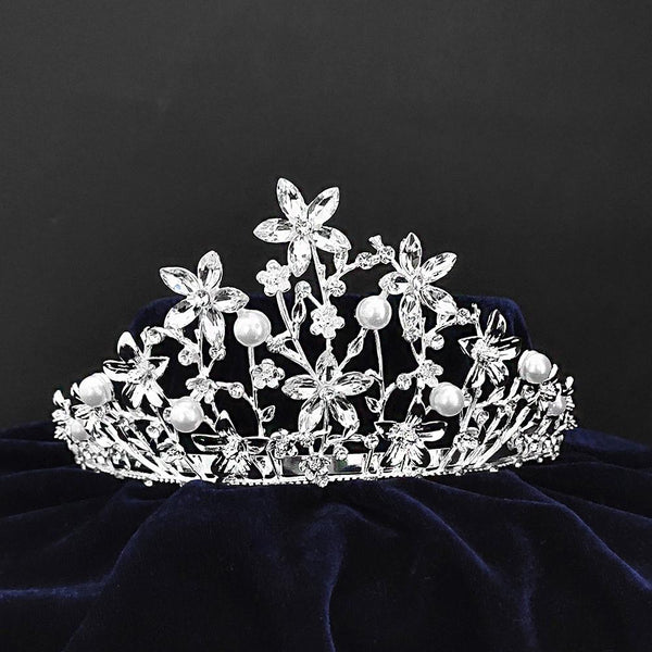 Kriaa Silver Plated White Austrian Stone Crown-1506605
