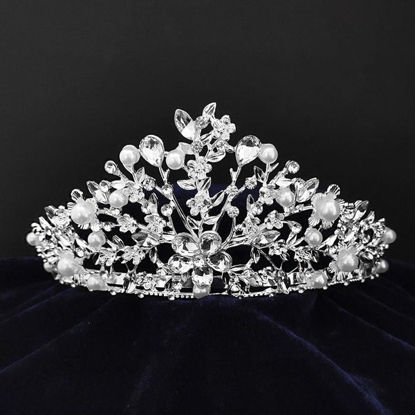 Kriaa Silver Plated White Austrian Stone Crown-1506607