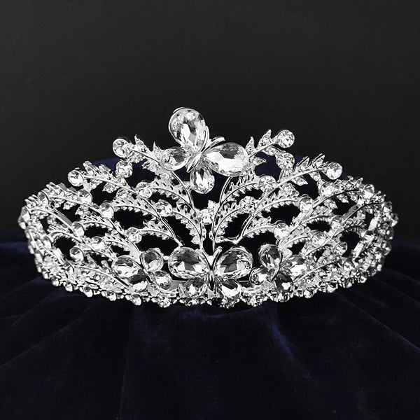 Kriaa Silver Plated White Austrian Stone Crown-1506609
