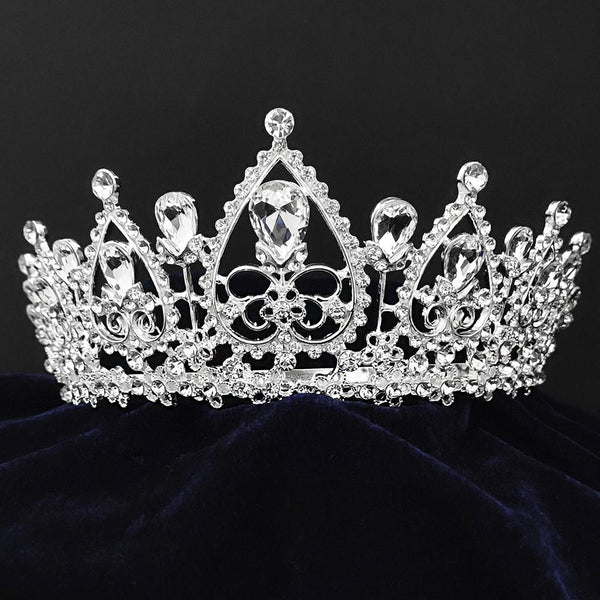 Kriaa Silver Plated White Austrian Stone Crown-1506610