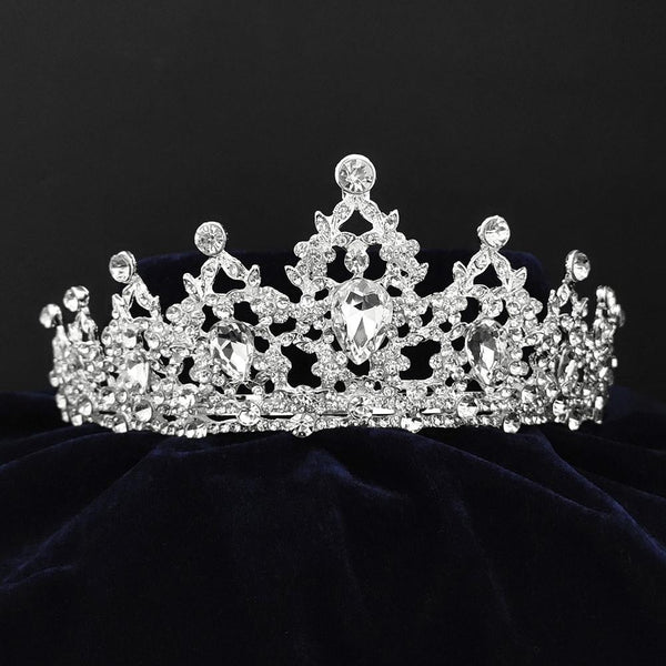 Kriaa Silver Plated White Austrian Stone Crown-1506611