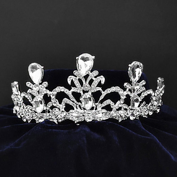 Kriaa Silver Plated White Austrian Stone Crown-1506612