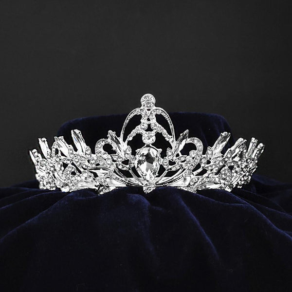 Kriaa Silver Plated White Austrian Stone Crown-1506613