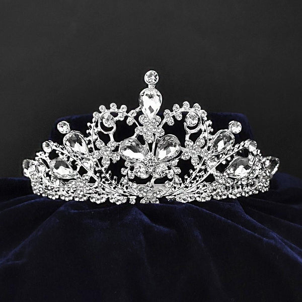 Kriaa Silver Plated White Austrian Stone Crown-1506615