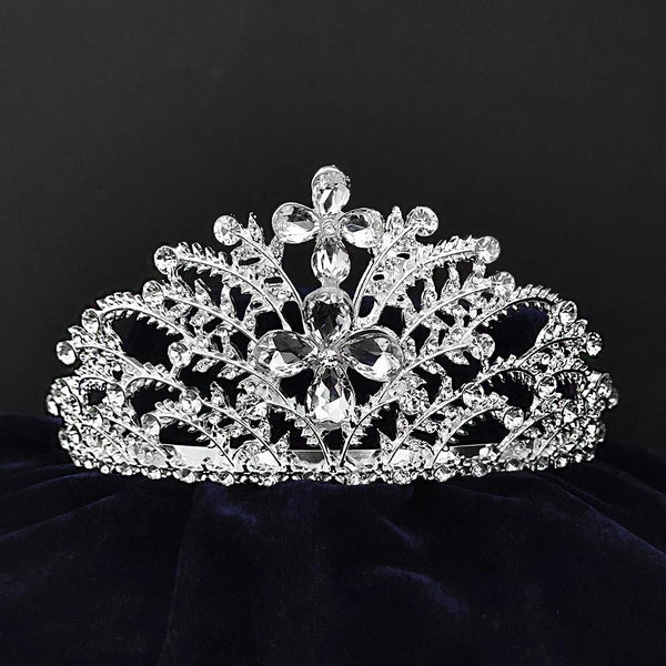 Kriaa Silver Plated White Austrian Stone Crown-1506617