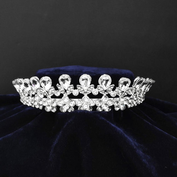 Kriaa Silver Plated White Austrian Stone Crown-1506618