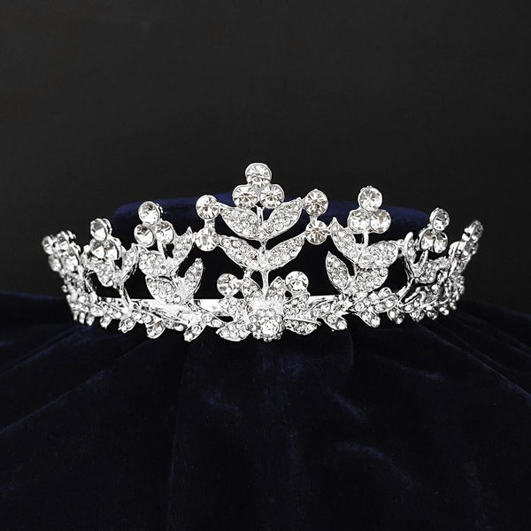 Kriaa Silver Plated White Austrian Stone Crown-1506619
