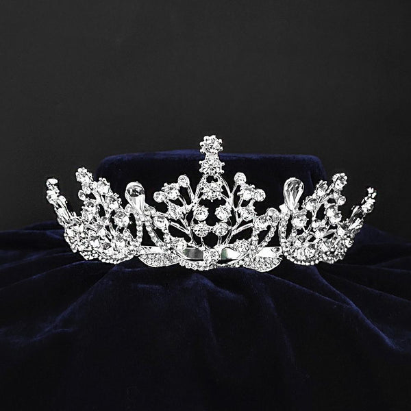 Kriaa Silver Plated White Austrian Stone Crown-1506620