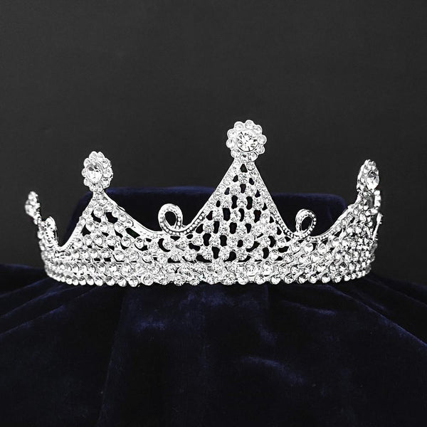 Kriaa Silver Plated White Austrian Stone Crown-1506621