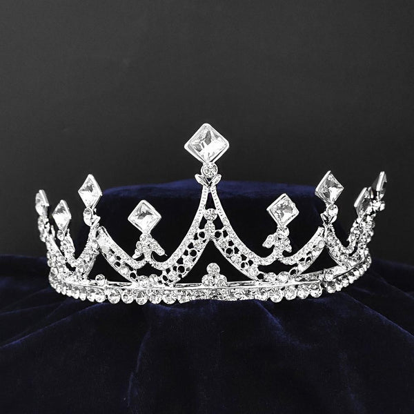 Kriaa Silver Plated White Austrian Stone Crown-1506622