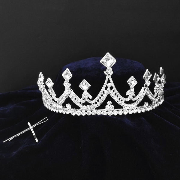 Kriaa Silver Plated White Austrian Stone Crown-1506623