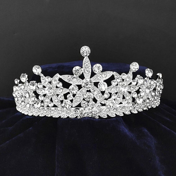 Kriaa Silver Plated White Austrian Stone Crown-1506624