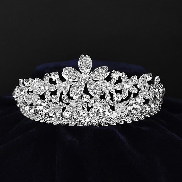 Kriaa Silver Plated White Austrian Stone Crown-1506625