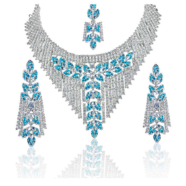 Mithya Silver Plated Stone Necklace Set With Maang Tikka