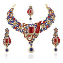 Vivaah Austrian Stone Gold Plated Necklace Set With Maang Tikka