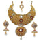 Aurum Gold Plated Maroon Pota Stone Necklace Set With Maang Tikka
