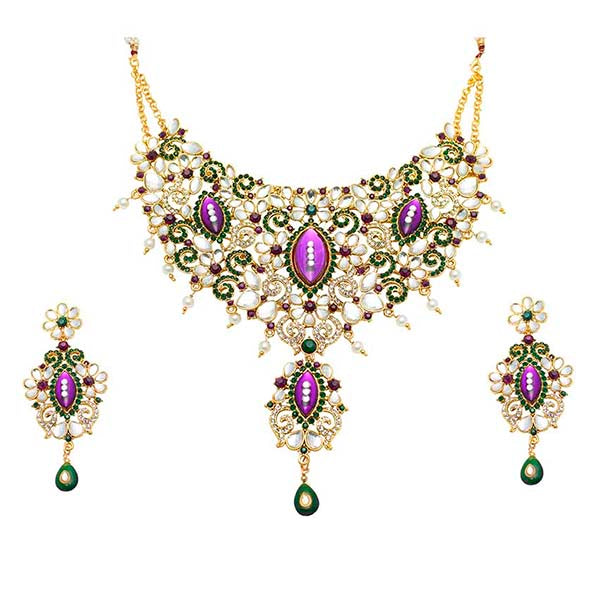 Aurum Gold Plated Purple Austrian Stone Necklace Set - 2000506