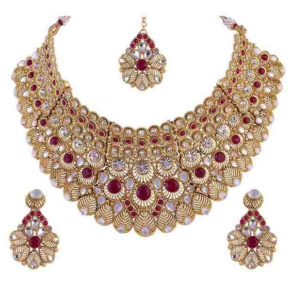 Aurum Gold Plated Maroon Austrian Stone Necklace Set - 2000507