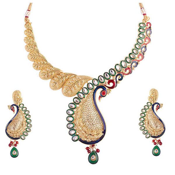 Aurum Meenakari Kundan Gold Plated Peacock Necklace Set - 2000508