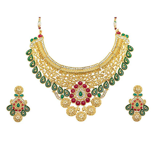 Aurum Gold Plated Meenakari Kundan Necklace Set
