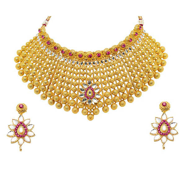 Aurum Austrian Stone Gold Plated Kundan Necklace Set - 2000521
