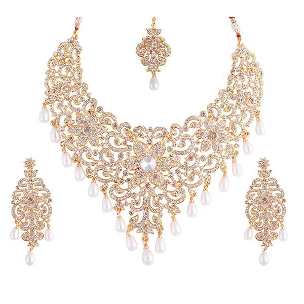 Aurum Gold Plated Stone Necklace Set With Maang Tikka - 2000523