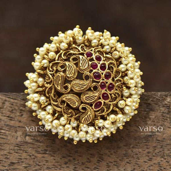 Varso Gold Polish Brass Pearl Fitting Adjustable Ring - 20131A