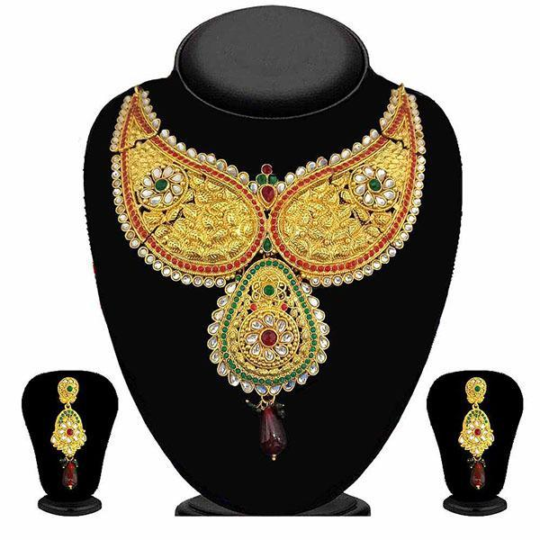 Kriaa Gold Plated Austrian Stone Necklace Set - 2100102