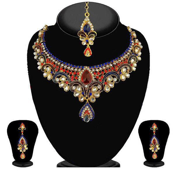 Kriaa Red And Blue Austrian Stone Necklace Set
