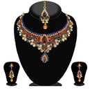 Kriaa Red And Blue Austrian Stone Necklace Set - 2100105