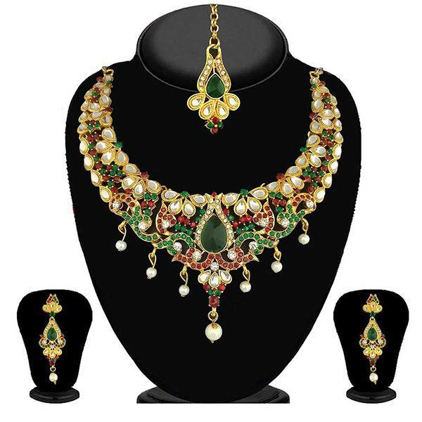Kriaa Green Stone Necklace Set With Maang Tikka - 2100201