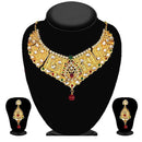 Kriaa Maroon & Green Stone And Kundan Necklace Set