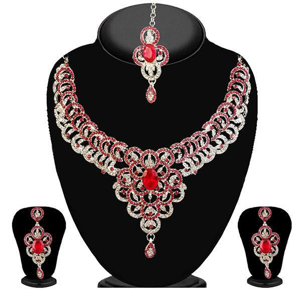 Kriaa Pink Stone Necklace Set With Maang Tikka - 2100208