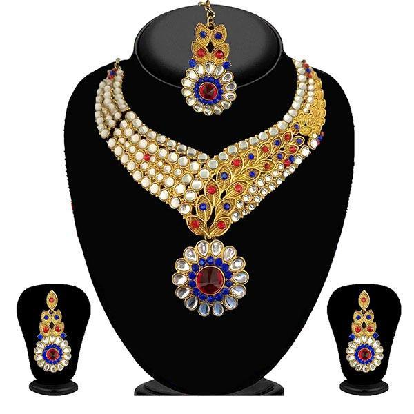 Kriaa Pink Stone Necklace Set With Maang Tikka - 2100306