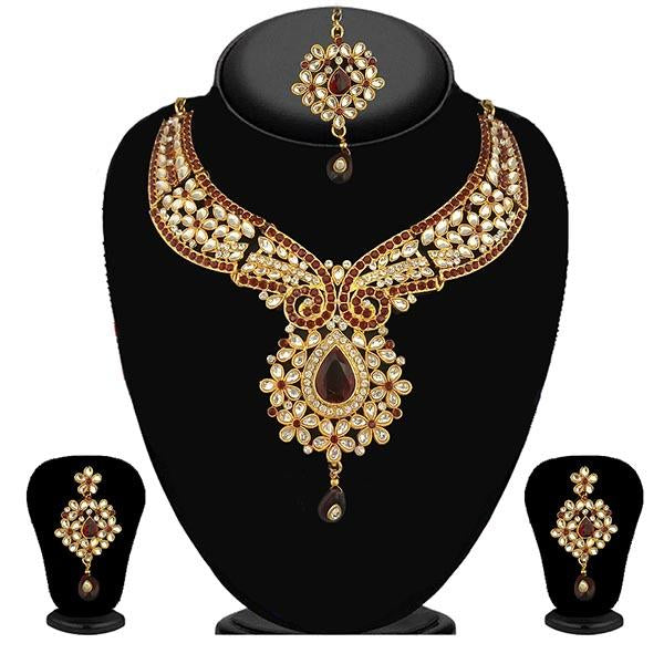 Kriaa Maroon Stone Kundan Necklace Set With Maang Tikka