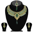 Kriaa Green Stone Necklace Set With Maang Tikka - 2100409