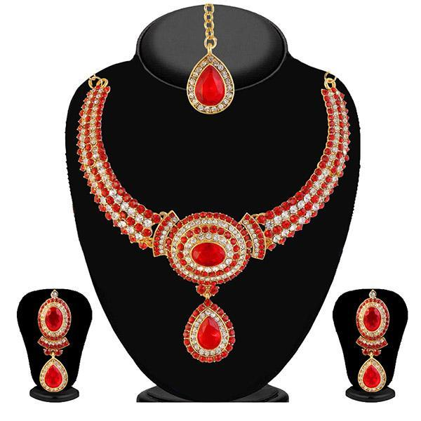 Kriaa Red Stone Necklace Set With Maang Tikka - 2100605