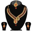 Kriaa Green Stone Kundan Necklace Set With Maang Tikka - 2100801
