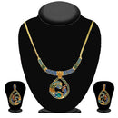 Kriaa Blue And Green Austrian Stone Necklace Set