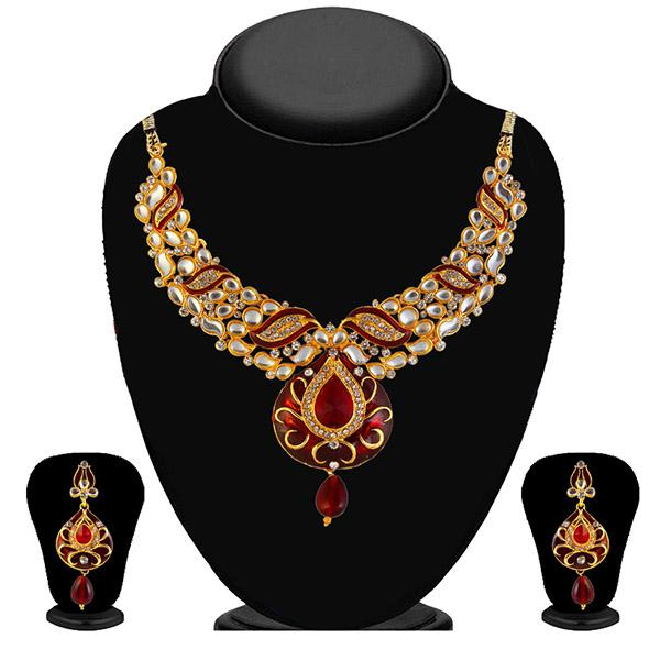 Kriaa Red Meenakari Stone Kundan Necklace Set