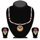Kriaa Maroon Pota Stone And Pearl Necklace Set