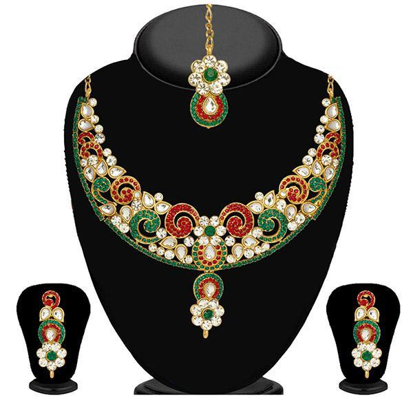 Kriaa Green Stone Necklace Set With Maang Tikka - 2101302
