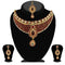 Kriaa Maroon Austrian Stone Necklace Set With Maang Tikka