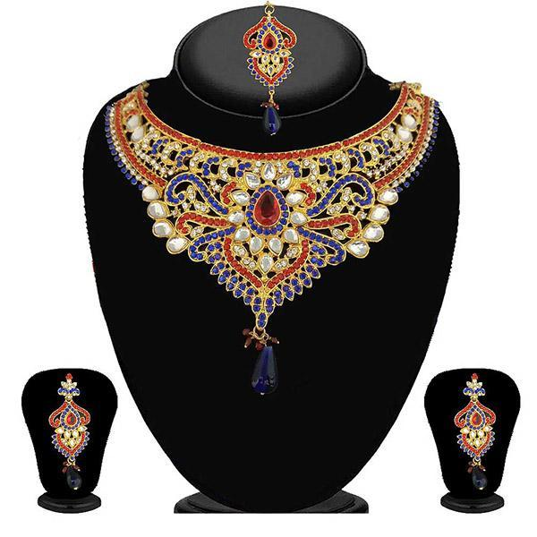 Kriaa Blue Stone kundan Necklace Set With Maang Tikka - 2101604