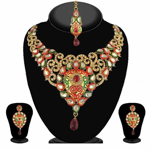Kriaa Multicolor Stone Necklace Set With Maang Tikka - 2101705