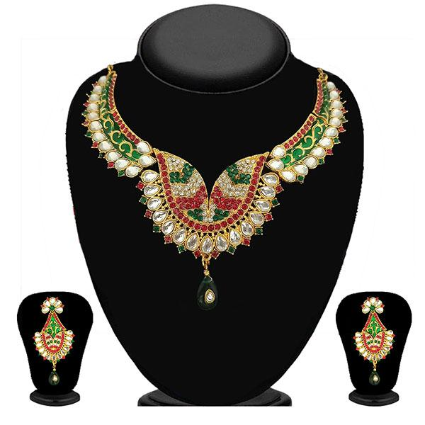 Kriaa Maroon And Green Stone And Kundan Necklace Set