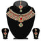 Kriaa Maroon Stone Necklace Set With Maang Tikka - 2101806